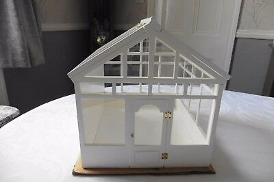 Dolls' House Glazed Conservatory/ Greenhouse 1/12Th Scale White Glenowen