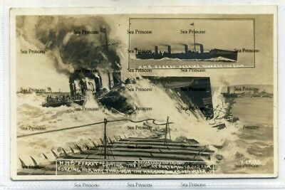 POSTCARD Hampshire HMS Ferret cutting Portsmouth Boom 1909 S Cribb