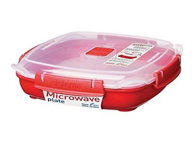 Sistema Microwave Large Plate with Removable Steaming Tray - Red/Clear New