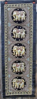 Large Antique Thai / Burmese Kalaga Embroidered Applique tapestry Wall Hanging