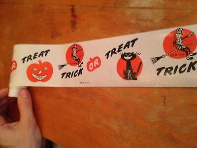 Vintage 1940s 1950s Mid Cent Planters Mr Peanut Halloween Wax Paper Shelf Strip
