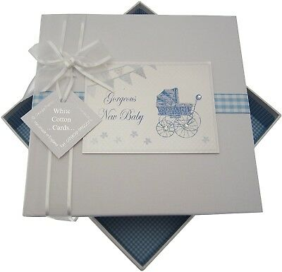 New Baby, Medium Photo Album, Blue Pram And Bunting