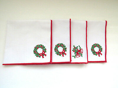 FOUR Vintage Christmas Holiday Dinner Napkins Appliqued Xmas Tree Jingle Bells