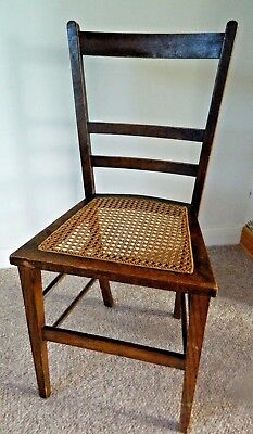Oak Edwardian Bedroom,Occasional, Hall,Wooden Chair With Caned Seat, Nice Item!