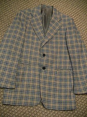 Vintage 1970s Grey Plaid Men's Suit Coat Blazer Jacket 40L