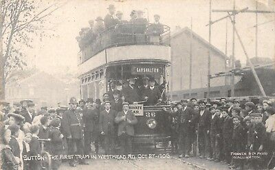 SURREY SUTTON THE FIRST TRAM IN WESTMEAD ROAD OCT 27 1906 No36 TO CARSHALTON CRD