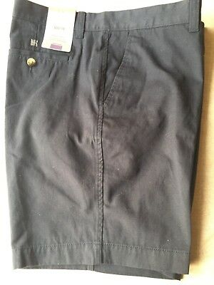 "Mens M&S Shorts Pure Cotton Tailored Fit Dark Navy Blue W36"" BNWT New"