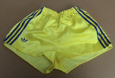 "Vintage adidas Shorts, Shiny Yellow with Blue Trim, size 85 (~33"" GB S/M)"