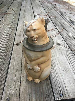 Schierholz Cat with Hangover figural character Stein late 1800's vintage