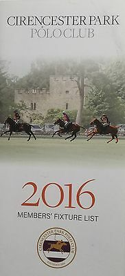 Cirencester Park Polo Club 2016 Members' Fixture List - New/unread