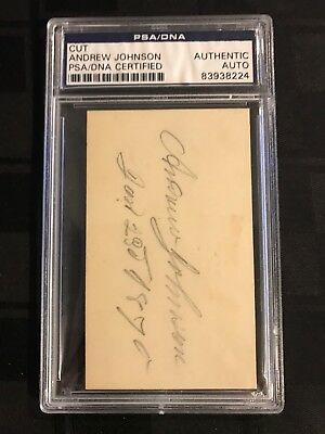17th US PRESIDENT ANDREW JOHNSON CUT SIGNATURE PSA/DNA Certified AUTOGRAPH 1870