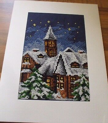 Newly Completed X Stitched Xmas Card  6 By 8 Inch...winters Night