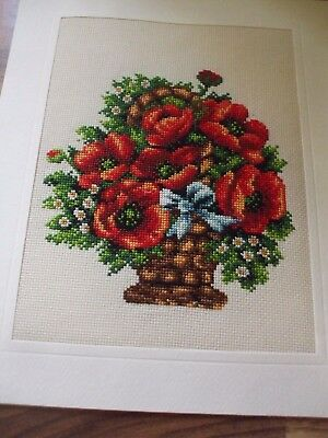 Newly Completed Xstitched Card....basket Of Flowers 8 By 10 Inches