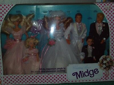 NEW Mattel Midge Wedding Party Gift Set Barbie Dolls 1990 Ken, Alan, Kelly, Todd