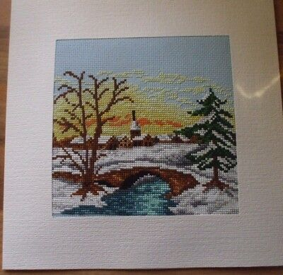 Large Newly Completed Cross Stitched Xmas Card.7.5 By 7.5 Inches