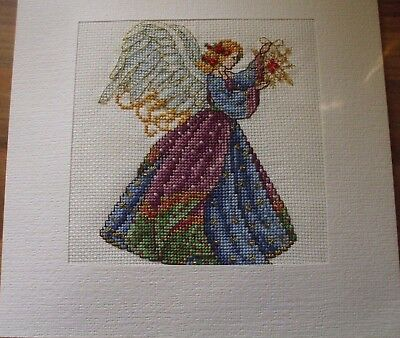 Newly Cross Stitched Xmas Card.7.5 By 7.5 Inches..with Beads And Metallics