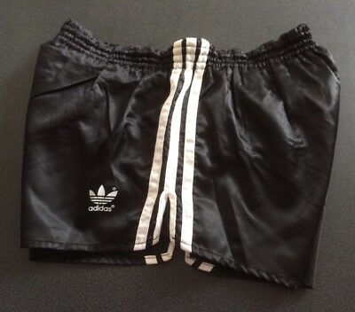Vintage adidas Shorts, Shiny Black with White Trim, size D6, GB M, F90