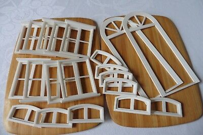 Dolls' House Window And Door Frames White Plastic 1/12Th Scale