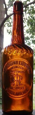 REMINGTON LIQUOR CO. PORTLAND, OREGON amber cylinder, great cond great embossing