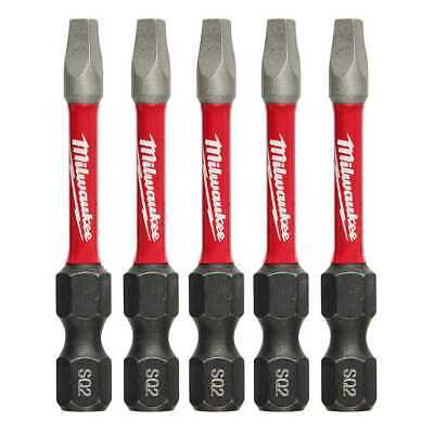 "Milwaukee 48-32-4606 5pk #2 Square Recess Shockwave 2"" Power Bit New"