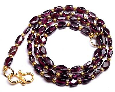 """K-0258 Garnet Natural Gemstone Red Rectangle Faceted Beads 70Cts 19"""" Necklace"""
