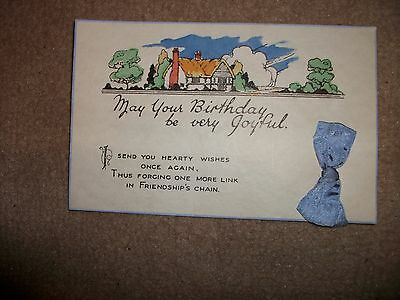 Vintage Birthday Greetings Card Postcard Collectable With Bow Friendship