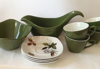 10 Piece Vintage Midwinter Stylecraft Tea Set Green