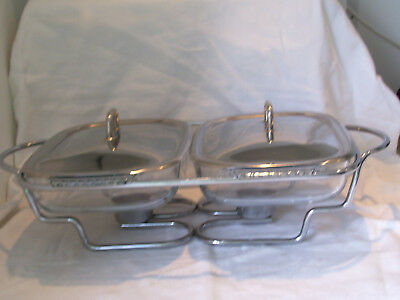 2 Pyrex Bufffet/chafing Casserole Dishes+Lids On Stand With Burners Combine P&p