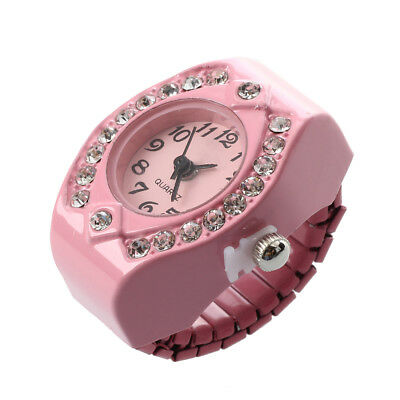 Women Pink Alloy Quartz Pocket Finger Ring Watch Rhinestone Round Dial U9F1 D4G2