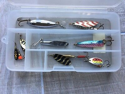 Shakespeare Case & Lures for Perch, Pike, Zander. Lures by Mepps, Alcedo, Rublex