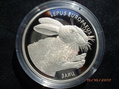 Belarus - Weißrussland 2014 Hare / Hase 20 Roubles Silber Proof mit CoA