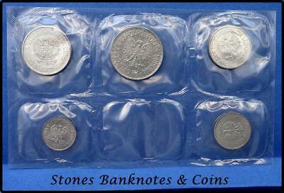 Poland Sealed 5 Coin UNC Set~Issued 1971-1972~5,10,20,50 Groszy & 1 Zloty