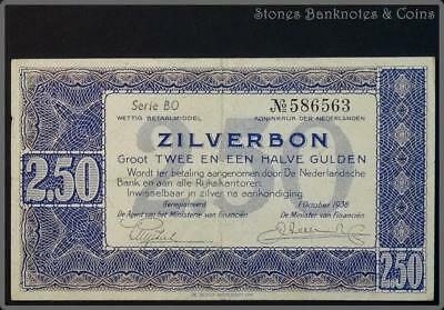 Netherlands 2.5 Gulden Silverbond Banknote~Issued 1/10/1938 Series BO~Pick#62~VF