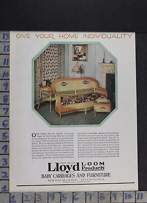 1929 Home Decor Furniture Lloyd Loom Wicker Bench Memominee Vintage Ad Dr76