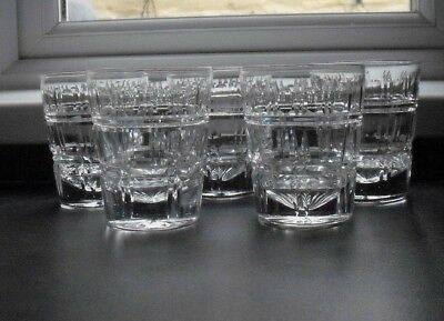 5 cut glass crystal whisky tumblers, mixer glasses