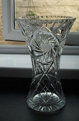 large, heavy, cut glass crystal vase, pin wheel pattern