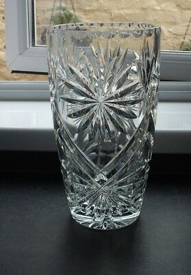 large, heavy, cut glass crystal vase, star burst pattern, 25 cm high