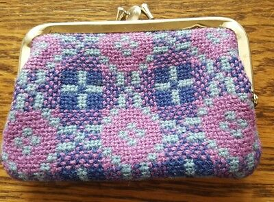 Vintage 60s Blue Pink Welsh wool tapestry clasp close coin purse