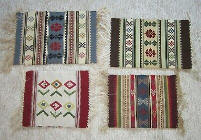 Set Of Four  Vintage Unused Swedish Skane Wool Hand Decorated Pillow Cases
