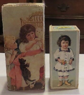 """Antique Lithographed Paper Blocks Bisque Doll Accessory, 5"""" Largest"""