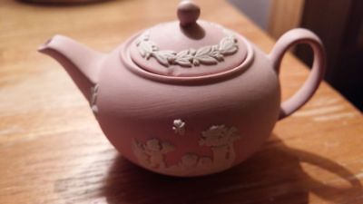 Wedgwood Jasper Ware Miniture Cup/saucer , Teapot And Tray