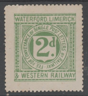 IRELAND WATERFORD LIMERICK & WESTERN RAILWAY 1897 2d LETTER FEE STAMP MNH
