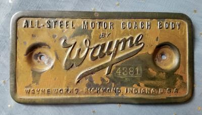 EARLY 1900s WAYNE MOTOR COACH METAL SIDE PLATE