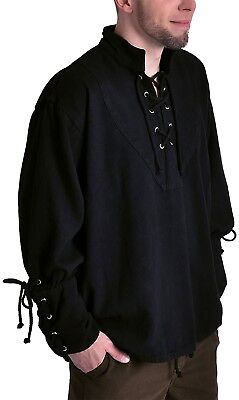Medieval Pirate LARP Mens Shirt, Black