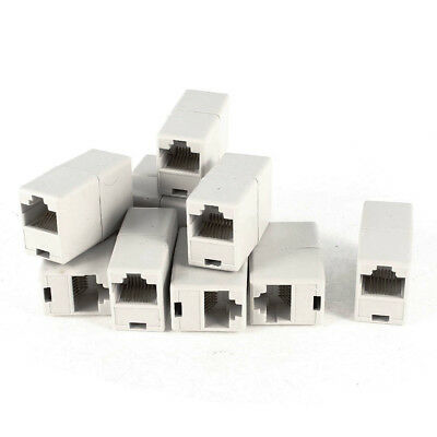 Off White Dual Connector RJ45 Modular Network Coupler Adapter 10 Pcs R6M7 C7W3