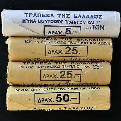 Greece 1976, 1978, 1988 4 rolls of 50 coins 10 & 50 Lepta(2), Drachma, see photo