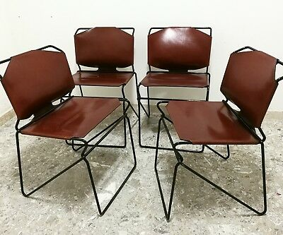 4 sedie vintage cuoio anni 70 design Style industrial Italian chairs set dining