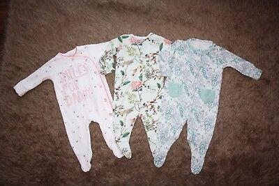 NEXT 3 x Baby Girl's Sleepsuits/Babygrows Age: Up To 3 Months