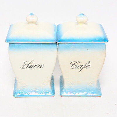 Antique Vintage Large Porelain French Sugar and Coffee Canisters