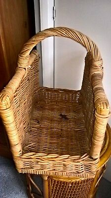 Wicker Fireside/Log Basket Open Ended with carrying handle Rectangle